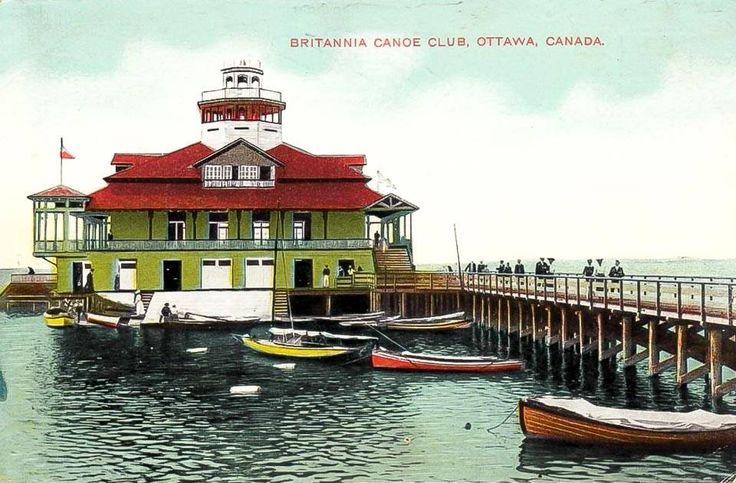 Postcard from Ottawa, featuring the boathouse of the Britannia Canoe Club at the end of the Britannia Pier. Many a dance was held in the boathouse, which people could easily reach by streetcar from the city. Literally cool in an era without air conditioning. I believe this structure was destroyed by fire in 1918, but someone might know for sure.