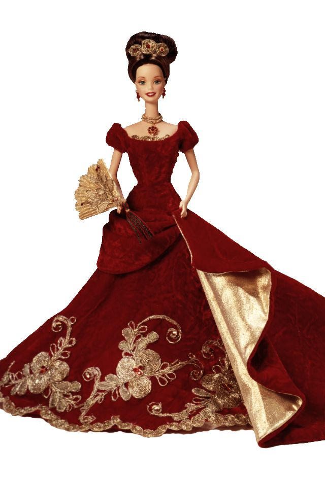 1997 - Holiday Ball™ Barbie® Doll  The past makes a beautiful present in this stunning tribute to an old-fashioned holiday celebration. Limited Edition doll made of fine, hand-painted porcelain bisque will be cherished for as long as the season is celebrated.