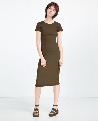 RIBBED CROSSOVER BACK DRESS-DRESSES-WOMAN | ZARA United Kingdom