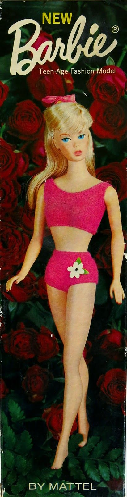 """The Standard Barbie dolls came in boxes similar to the early Barbie dolls, which I prefer because they make a nicer display box. Kids could use the box for play, pretending they were bathtubs, boats, or even a car. The early """"rose"""" colored box, which was for sale from 1967-1969, featured the doll in a bright pink two piece swim suit with a white vinyl flower on the left side of her swim-suit bottoms. In 1970 and 1My Vintage Barbies Blog: Barbie of the Month: The Standard (Straight-Leg)…"""