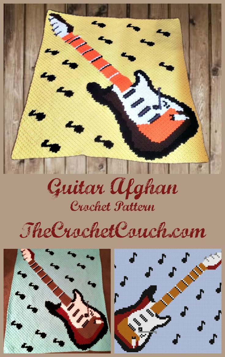 Guitar With Notes Afghan Crochet Pattern Is A Fun Afghan To Make For