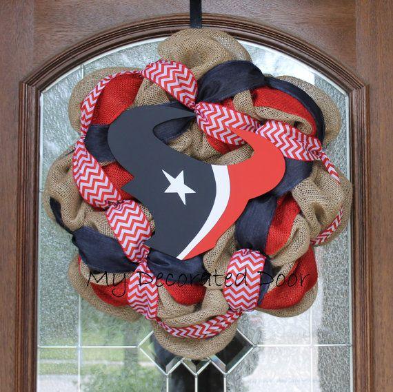 Burlap Houston Texans Wreath Texas Football by MyDecoratedDoor