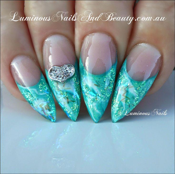 Luminous Nails: Luminous Apple & Ice Glittery Nails...