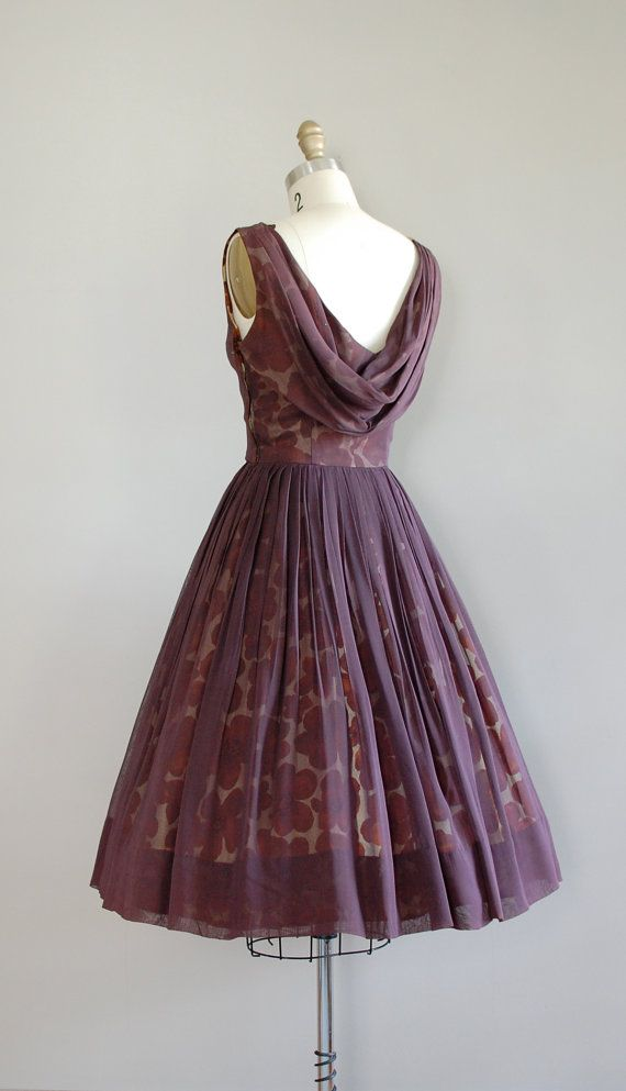 Love the back vintage 50s dress / 1950s dress / silk chiffon / by DearGolden
