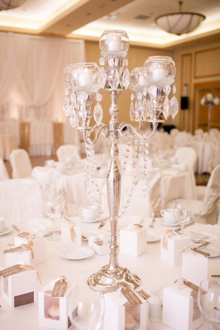 Tall Centerpiece - Elegant Purple Gold Wedding by Joanna Moss Photography - KnotsVilla