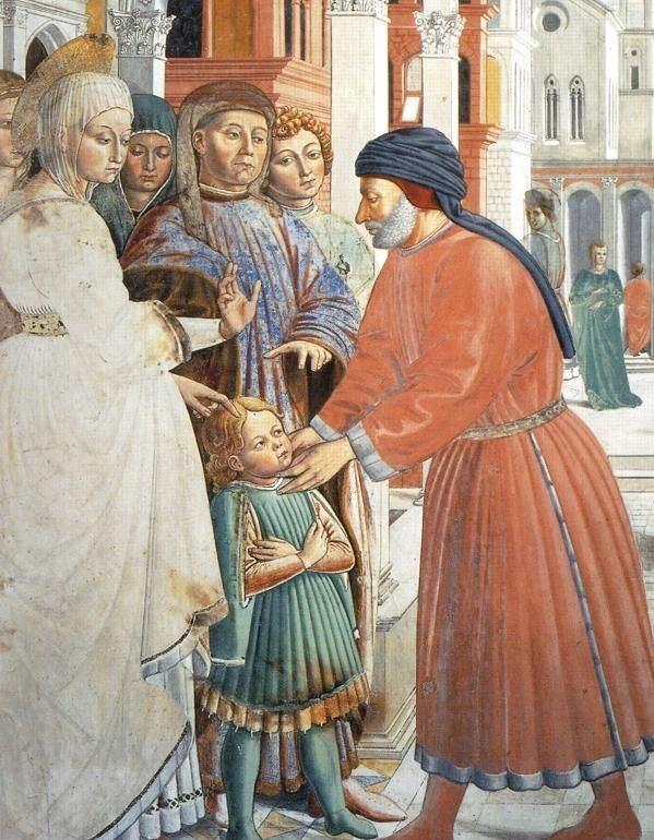 ❤ - BENOZZO GOZZOLI (1421 - 1497) - St. Augustine - The School of Tagaste (detail). 1464-65. Fresco. 220 x 230 cm. Apsidal Chapel of Sant' Agostino, San Gimignano, Italy.