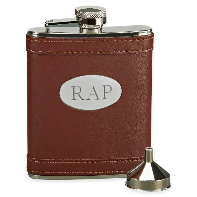 product image for 6 oz. Leatherette Flask with Engraving Plate in Brown/Silver
