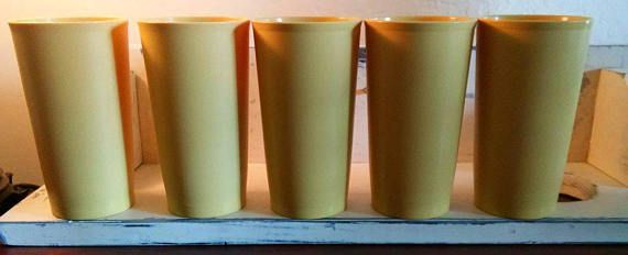 Vintage Tupperware Harvest Gold 12 ounce Tumblers set of 5