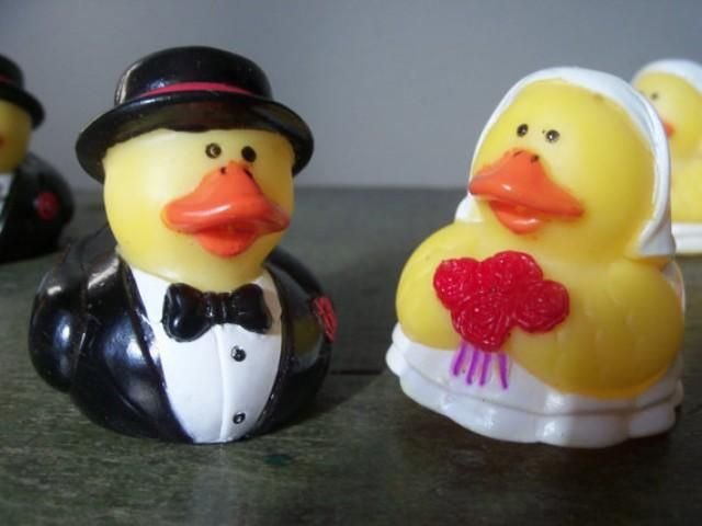 Bride And Groom Rubber Duck Cake Toppers
