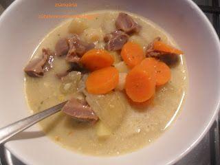 Zsanuária: Zúzaleves tejfölösen, sok zöldséggel, savanykásan....