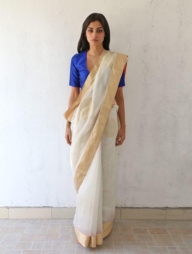 Buy Ivory Golden Silver Chanderi & Zari Marigold Saree by Raw Mango Sarees Woven Online at Jaypore.com