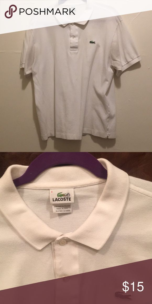 SALE!! 💎 Lacoste Vintage Polo 💎 White Mens Lacoste Vintage Polo. Size Medium!  Condition: GREAT  a few minor stains but should come out if spot cleaned but other than that its in great shape! Lacoste Shirts Polos