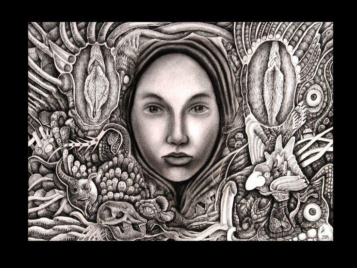 Ariel Guerra | tsū ''IV'' Técnica mixta sobre papel. #drawing #portrait #blackandwhite #A
