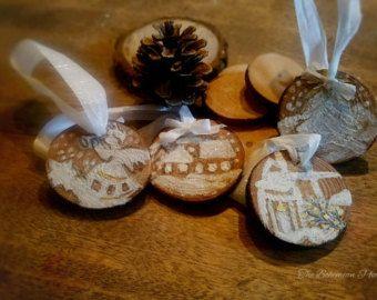 Decorazioni di Natale originale in legno per cerchi in di HolgaArt