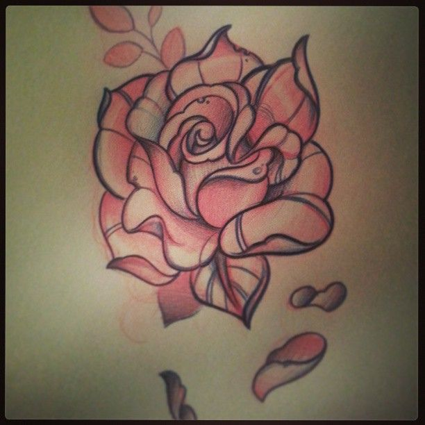 traditional tattoo designs | Neo Traditional Rose Tattoo