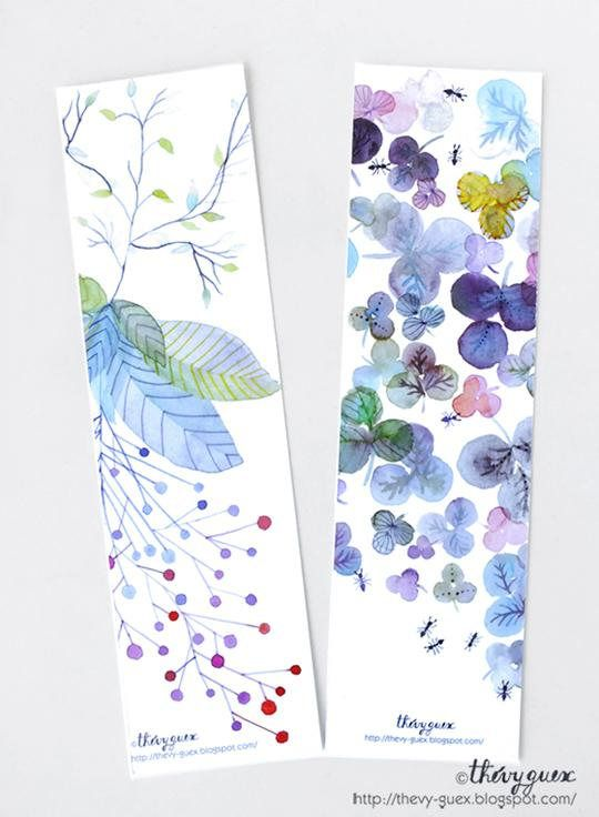 Flower botanical watercolor paper bookmarks, Floral bookmarks, Book lover, Gift reader, Nature art print, Cute stationery, Cute bookmarks