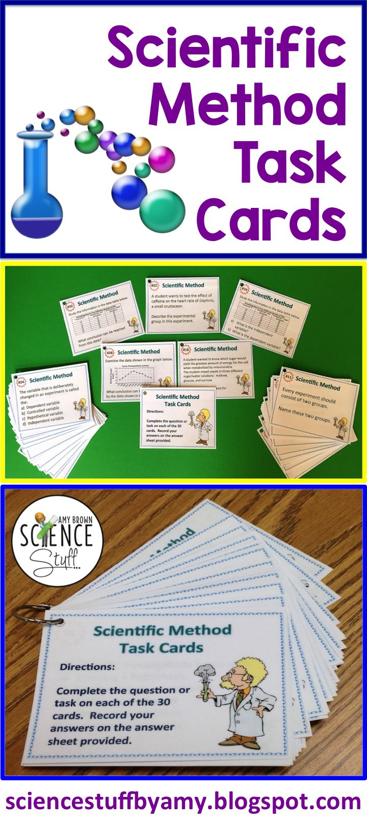 Make sure that the student can actually APPLY the scientific method, and not just memorize the steps.  These task cards are a fantastic way to reinforce lessons, review difficult concepts, or provide extra practice for the struggling student on the scientific method.