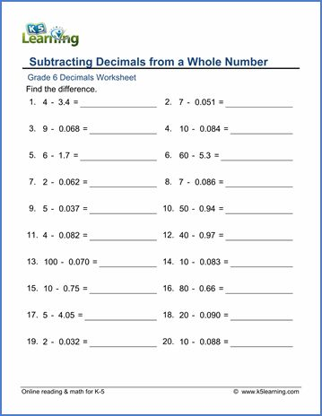 Adding And Subtracting Decimals Worksheets 6th Grade In 2020 Grade 5 Math Worksheets Math Worksheets Printable Math Worksheets Subtracting decimals worksheets pdf