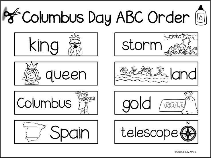 Columbus Day Math And Word Fun Kindergarten First Grade 1st Grade Abc Order Autumn Teaching Ideas Columbus Day