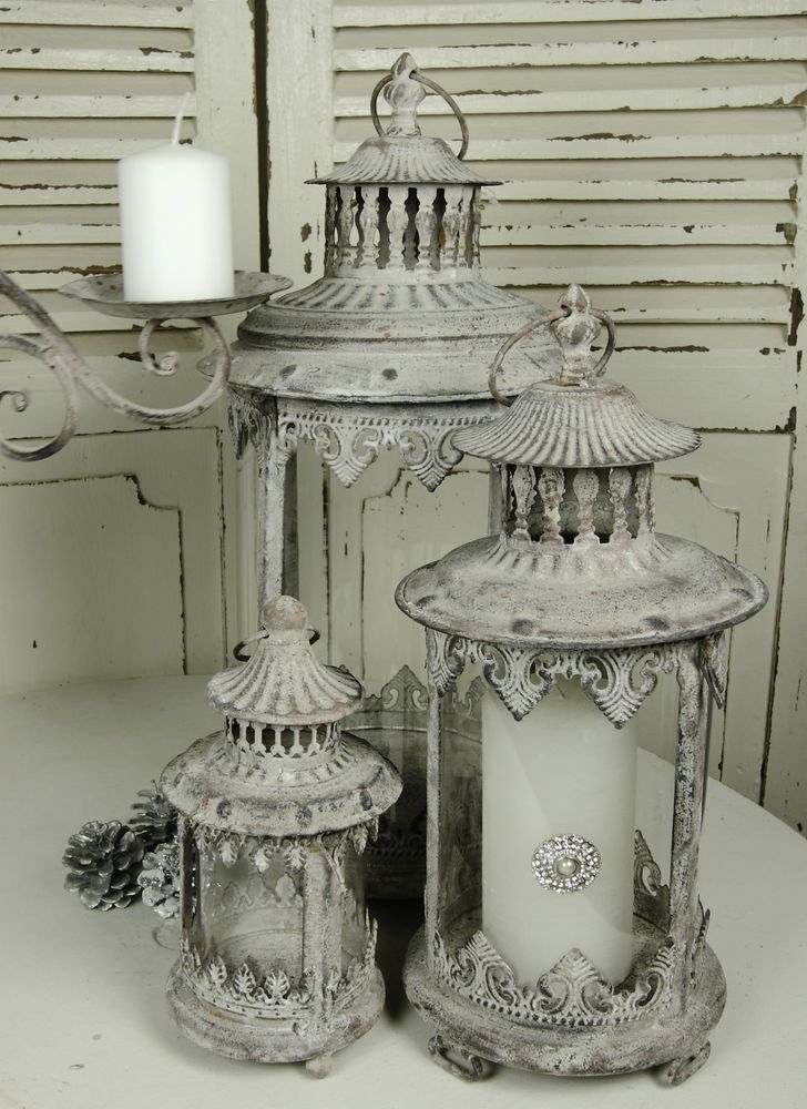 Laterne Metall Grau- Weiß Patina Shabby Vintage  Nostalgie Landhaus 3 Größen