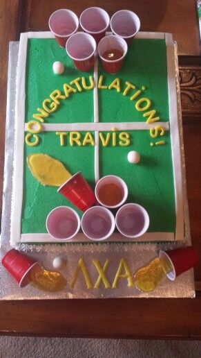 I made this Beer Pong cake for a college grad!  All homemade fondant and hard candy accents  French vanilla cake with buttercream frosting  fun!