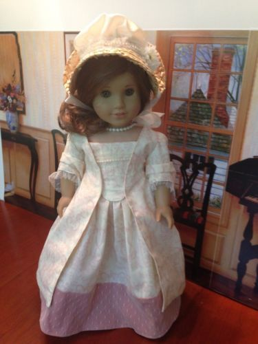 """Fits American Girl 18"""" doll clothes - Historical Felicity - 1700's 18th Century Colonial Sacque Back (Sack back) dress in pink toile"""