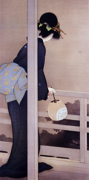 待月   Shoen Uemura(上村松園)  http://en.wikipedia.org/wiki/Uemura_Shōen          Uemura Shōen(上村 松園?, April 23, 1875 - August 27, 1949)was thepseudonymof an important woman artist inMeiji,Taishōand earlyShōwa periodJapanese painting. Her real name was Uemura Tsune. Shōen was known primarily for herbijingapaintings of beautiful women in thenihongastyle, although she also produced numerous works on historical themes and traditional subjects.