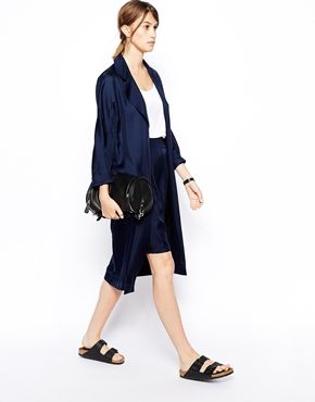 Love this but... Doesn't it just look like you're wearing a silk bathrobe?ASOS WHITE Silk Duster Coat