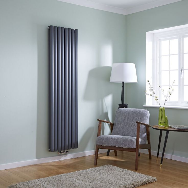 Milano Aruba Flow - Anthracite Vertical Double Panel Middle Connection Designer Radiator 1780mm x 472mm