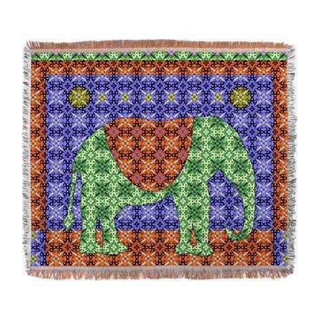 Colorful Elephant Woven Blanket