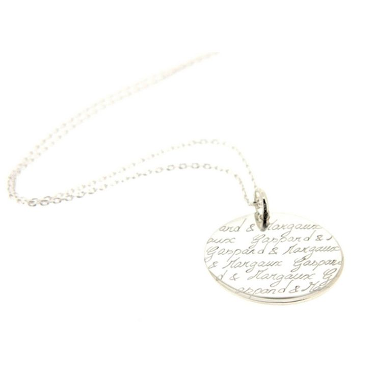 Collier sautoir maman avec pendentif gravé (argent 925°) : Atelier de famille - Collier argent - Berceau Magique