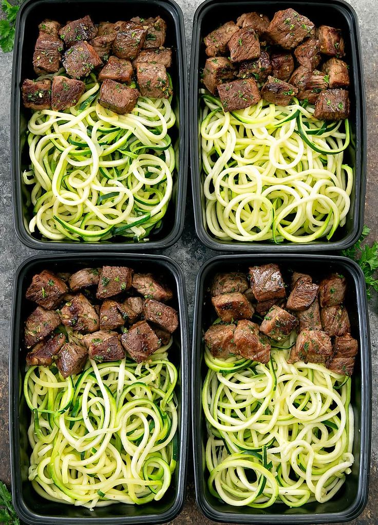 overhead photo of four meal prep containers with Garlic Butter Steak Bites with …