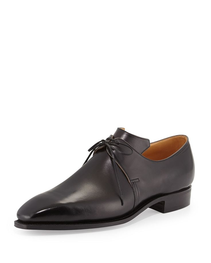 Corthay black leather derby shoe with gray edging. Two-eye lace-up vamp