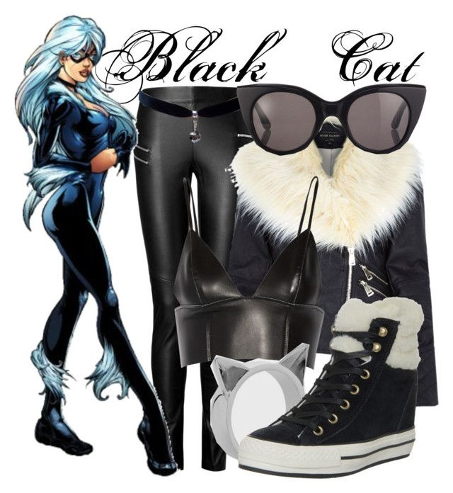 """Felicia Hardy/Black Cat"" by mcu-marvel-creations ❤ liked on Polyvore featuring Joseph, River Island, T By Alexander Wang, Surface To Air, Meadowlark, Converse, marvel, comics, spiderman and blackcat"