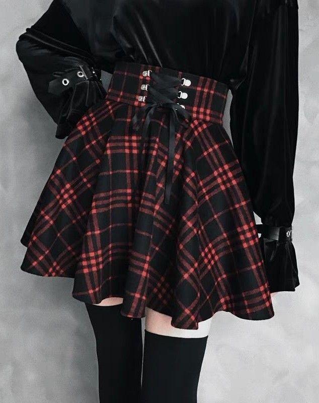 New Black Red Tartan check Lace mini Skirt Party Retro Gothic Alternative Rock