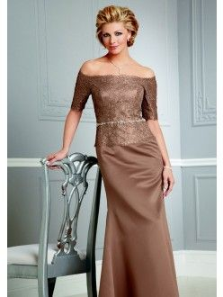 A-line Off-shoulder Lace Taffeta Brown Floor-length Taffeta Mother Of the Bride Dresses