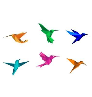 Origami hummingbirds vector 1167506 - by Seamartini on VectorStock®