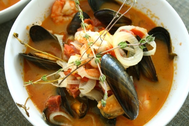 Mussle, Prawn and Chorizo Soup. Tonight's dinner sorted.