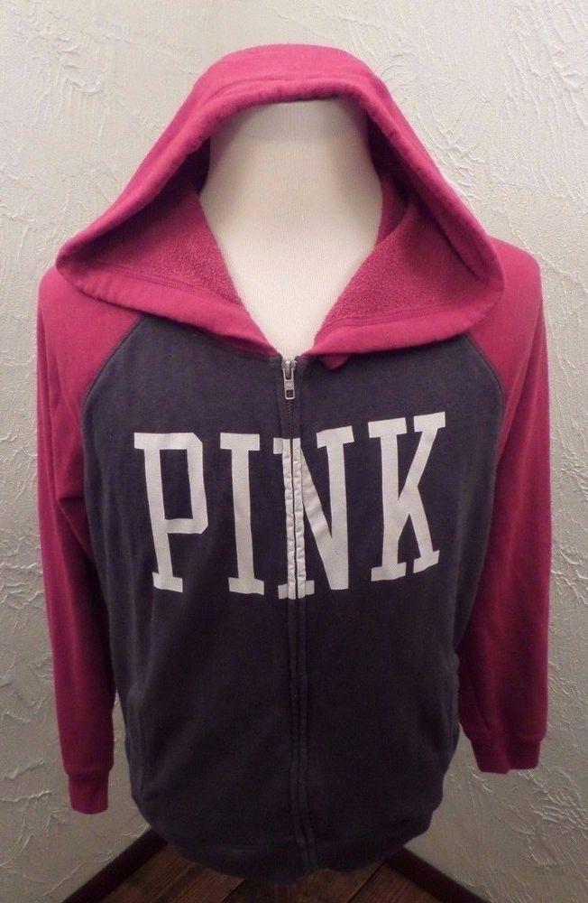 Womens Victorias Secret PINK Full Zip Hoodie Size Medium Two Tone  GUC #VictoriasSecretPINK #FullZipHoodie