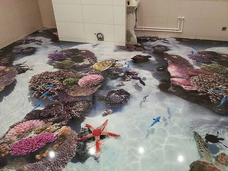 3D epoxy floors by Dubai-based interior decorating brand Imperiale has figured out a way to make floors look like bodies of water, complete with dolphins, waves, fish, and other aquatic imagery.  http://www.imperialae.com/luxury/3d_epoxy_flooring.html