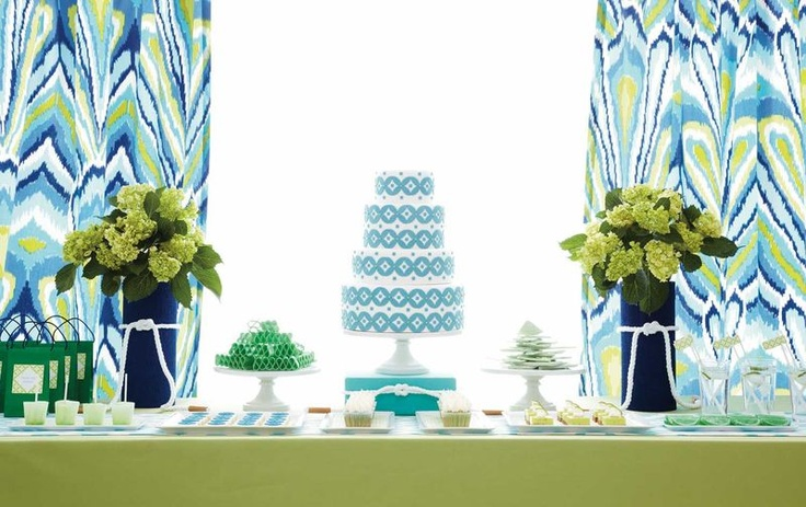 those curtains are FANTASTIC!! anyone have a source?Sweets Style, Colors Combos, Tables Sets, Amy Atlas, Sweets Tables, Peacocks Fabrics, Colors Mixed, Colors Schemes, Desserts Tables
