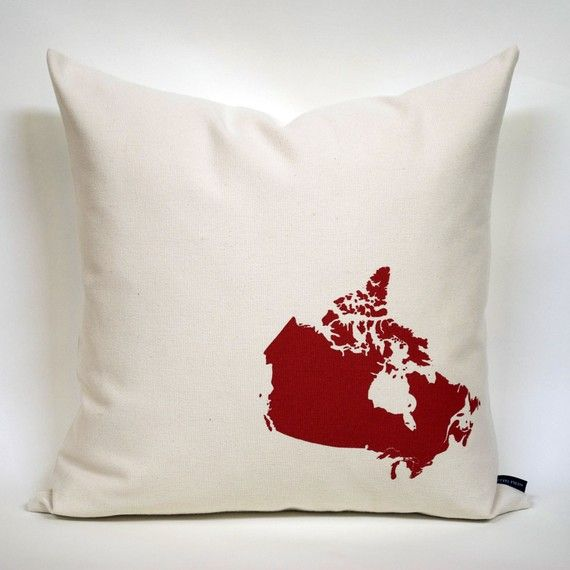 Fabulous Map of Canada pillow cover, made by Nicole Tarasick, in collaboration with Style Garage.  Made in Canada, eh!