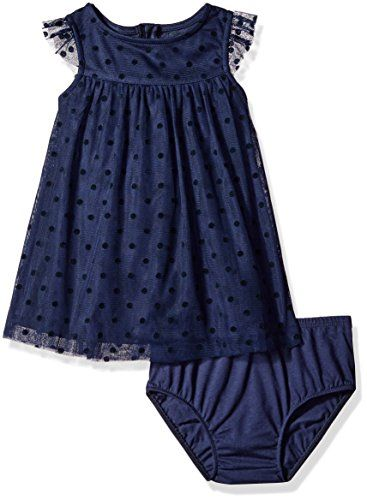 Nautica Baby Girls' Tulle Dress with Flocked Dot