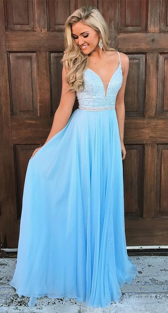 5757fa57e59d elegant blue long prom dress, 2019 prom dress, spaghetti straps blue long  prom