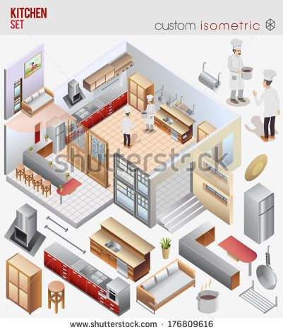 awesome vector isometric custom. #isometric #vector #kitchen #chef #kitchenset #kitchenutensils #work #cook #interior #architect #cute #smallworld #bar #dinner #room