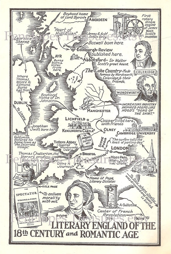 1941 Middle English Literature Map JPeg by PenelopesTreasures, $3.00