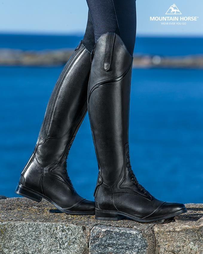 """I love my Mountain Horse USA Sovereign Field boots!! They are super comfortable, easy to break in and have a stylish fit. I wear mine both for schooling my horses at home as well as at the shows and they have proven to be very durable!"" – The Styled Equestrian. Available in black or brown #MountainHorseUSA"