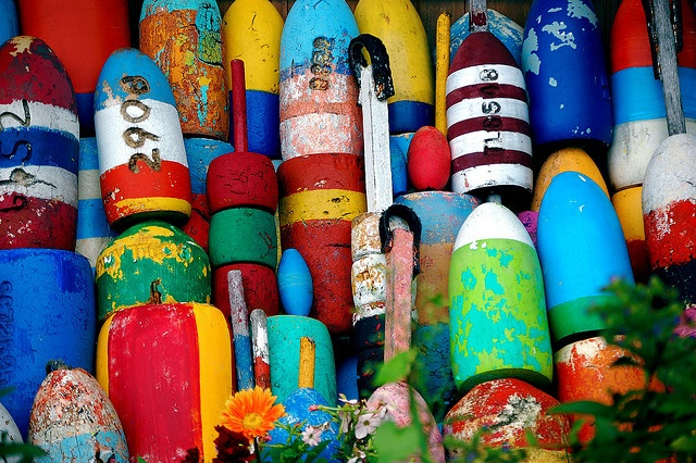 colorful buoys in rockport, ma