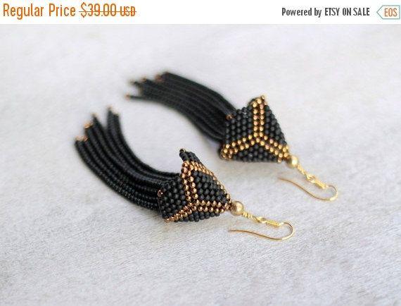 SALE SALE : Black Beaded Tassel Earrings Long by HeriniaJewelry