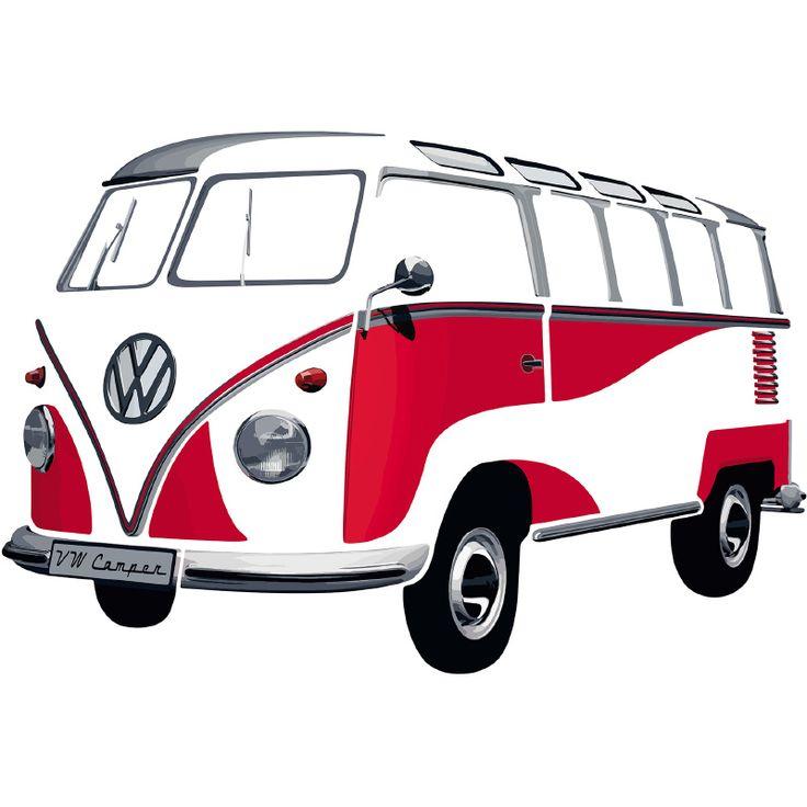 Muursticker VW T1 Samba Bus Rood 180 x 120
